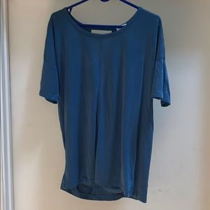 Splendid Slate Blue Open Back Top Shirt Small S